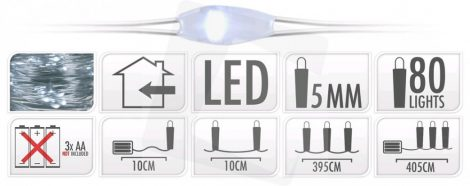LED christmas light, cold white, 20pcs, use with battery